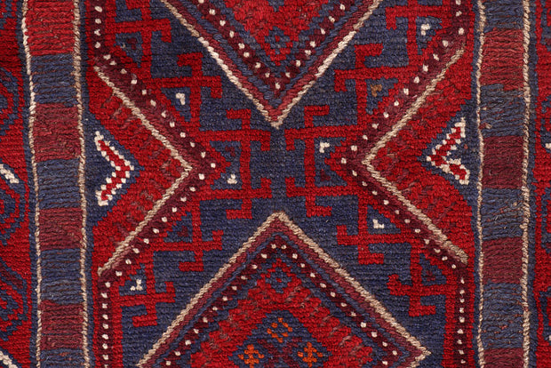 Dark Red Mashwani 2' x 8' 5 - No. 63723 - ALRUG Rug Store