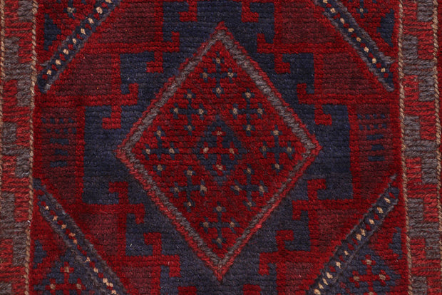 Dark Red Mashwani 2' x 9' 1 - No. 63731 - ALRUG Rug Store