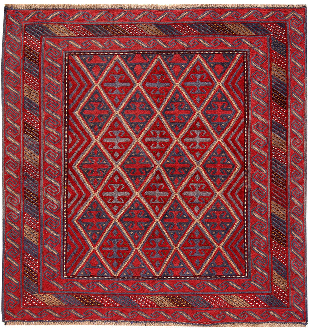 Dark Red Mashwani 4' 3 x 4' 4 - No. 63760 - ALRUG Rug Store