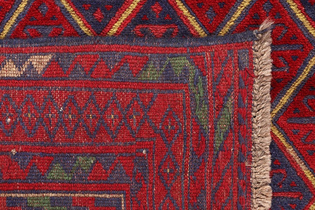 Dark Red Mashwani 3' 9 x 4' 3 - No. 63763 - ALRUG Rug Store