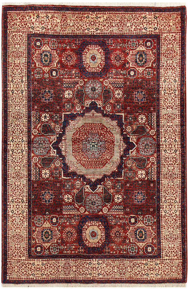 Dark Red Mamluk 4' 9 x 7' - No. 66195 - Alrug Rug Store