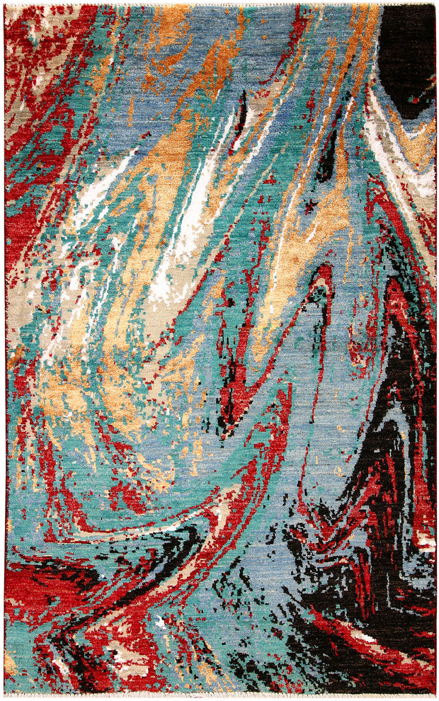 Multi Colored Abstract 4' 1 x 6' 5 - No. 66232 - ALRUG Rug Store