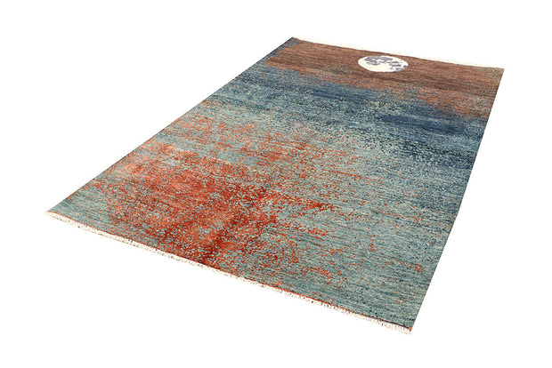 Multi Colored Abstract 5' 1 x 8' - No. 66242 - ALRUG Rug Store