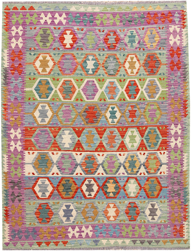 Multi Colored Kilim 5' 1 x 6' 6 - No. 66612 - ALRUG Rug Store
