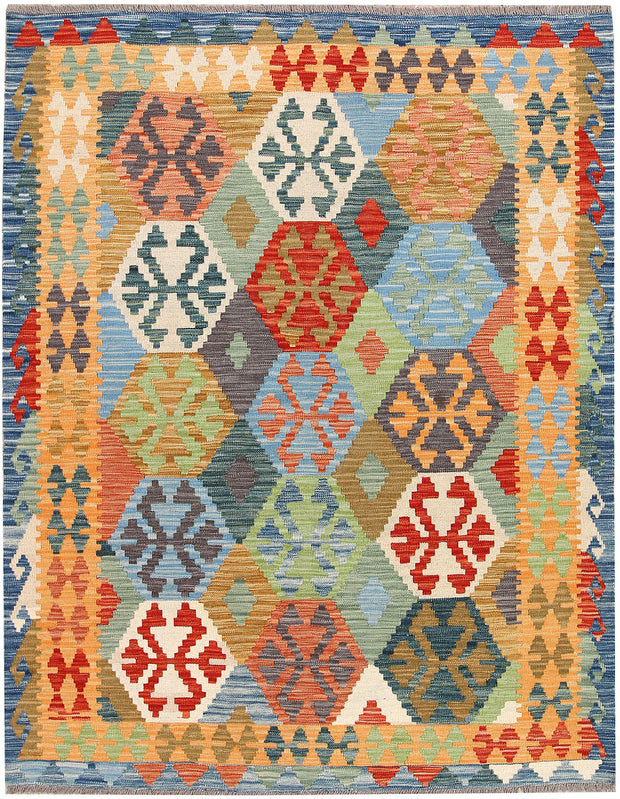 Multi Colored Kilim 5' 1 x 6' 6 - No. 66617 - ALRUG Rug Store