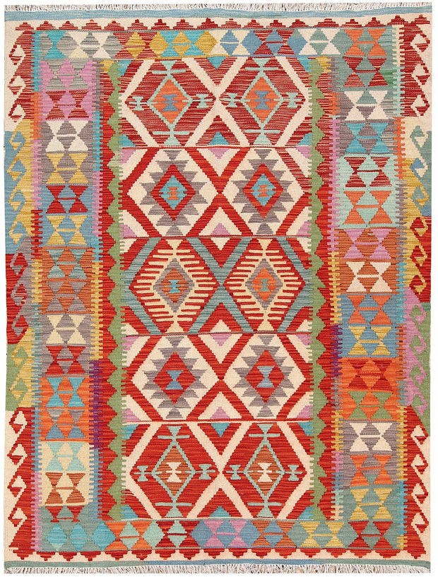 Multi Colored Kilim 4' 11 x 6' 6 - No. 66658 - ALRUG Rug Store