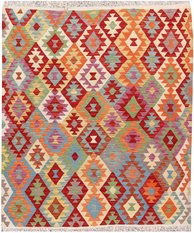 Multi Colored Kilim 5' 4 x 6' 5 - No. 66820 - ALRUG Rug Store