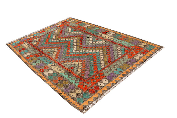 Multi Colored Kilim 5' 7 x 7' 10 - No. 66831 - ALRUG Rug Store