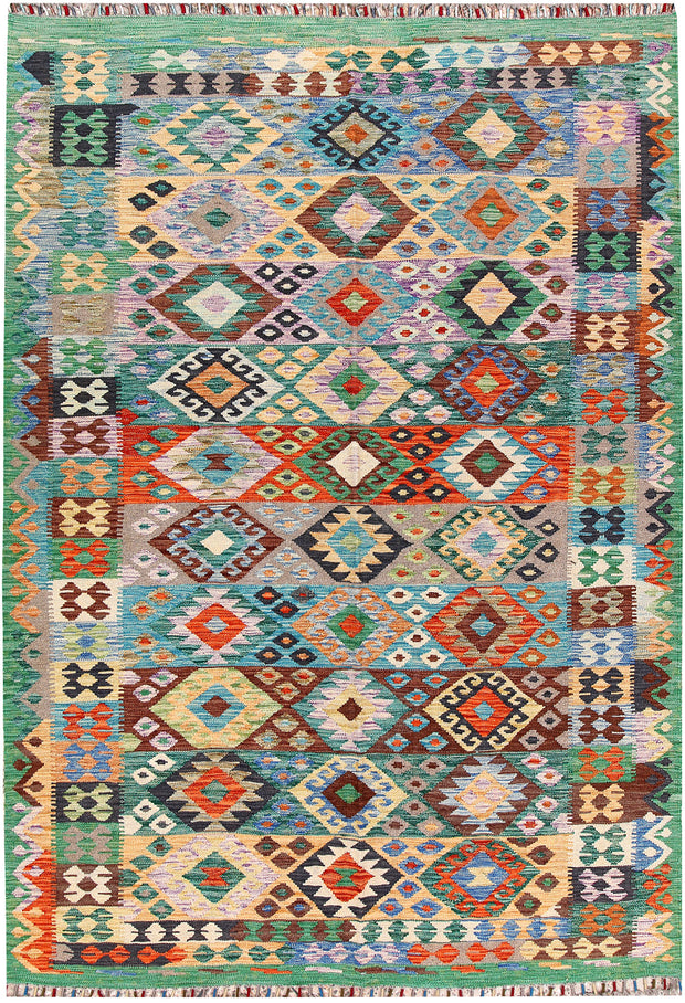 Multi Colored Kilim 5' 9 x 8' 2 - No. 66834 - ALRUG Rug Store