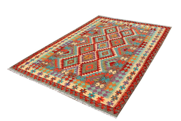 Multi Colored Kilim 5' 6 x 8' - No. 66848 - ALRUG Rug Store