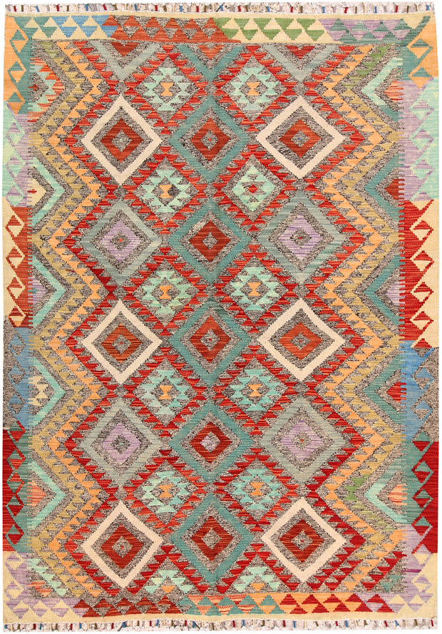 Multi Colored Kilim 5' 5 x 7' 7 - No. 66869 - ALRUG Rug Store