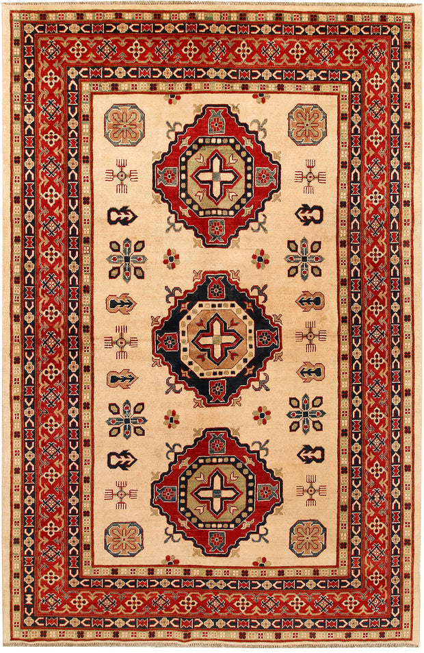 Blanched Almond Kazak 6' 5 x 9' 9 - No. 67599 - ALRUG Rug Store
