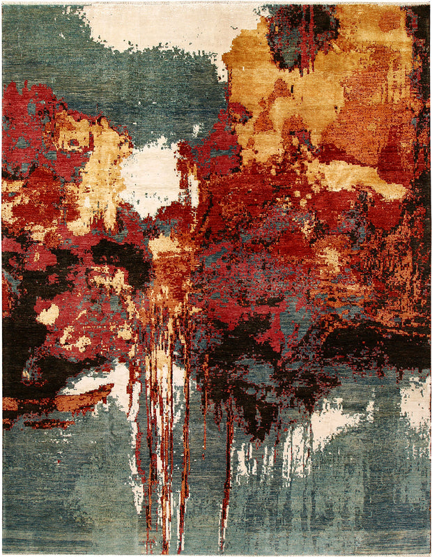 Multi Colored Abstract 9' x 11' 11 - No. 68067 - Alrug Rug Store
