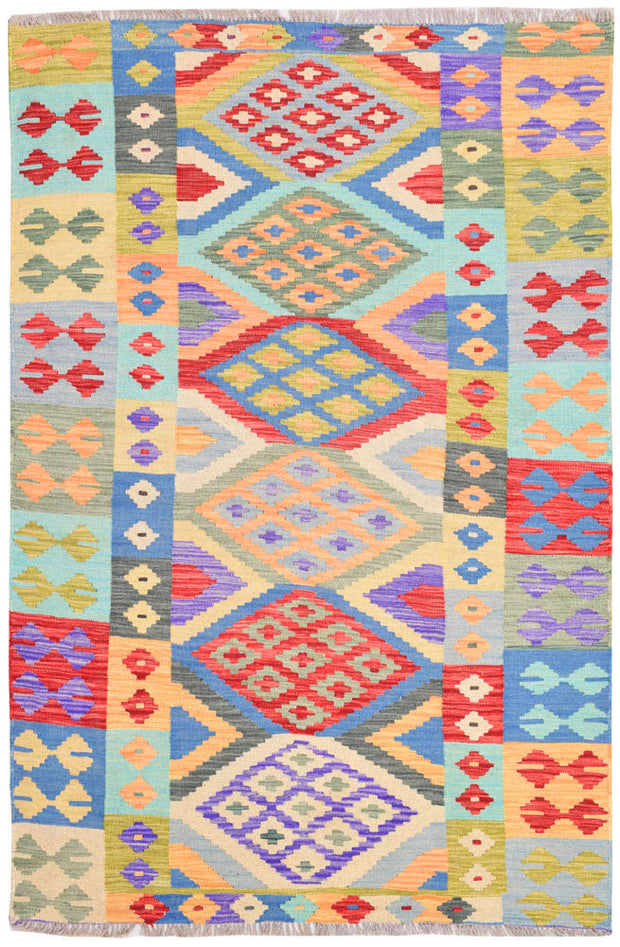 Multi Colored Kilim 4' 2 x 6' 2 - No. 68174 SQM:2.39