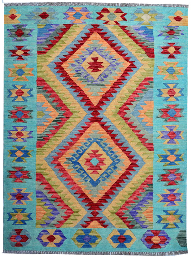Multi Colored Kilim 4' 1 x 5' 7 - No. 68176 - Alrug Rug Store
