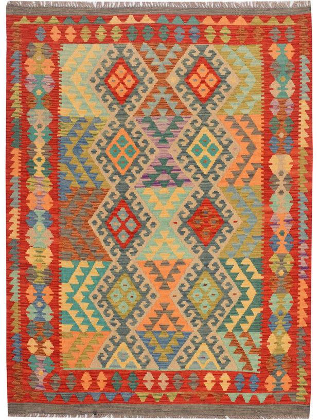Multi Colored Kilim 4' 4 x 5' 10 - No. 68177 - ALRUG Rug Store