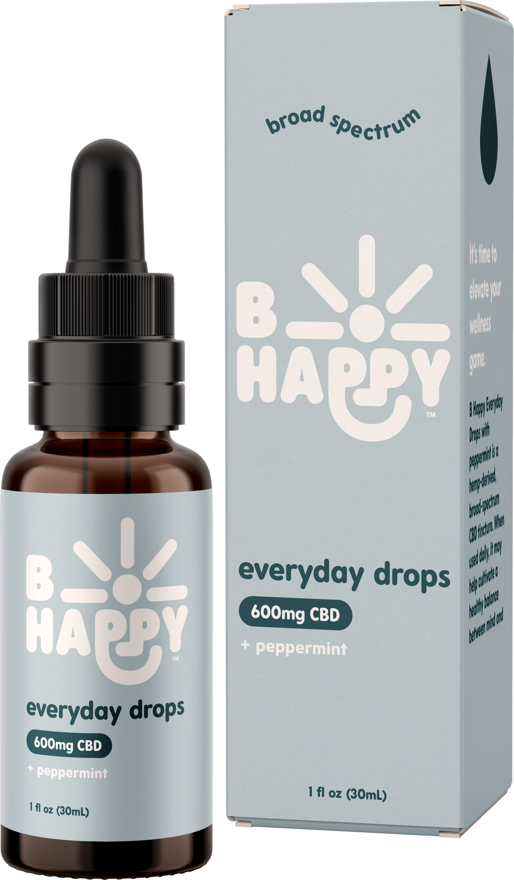 B Happy Everyday Peppermint Drops - 600mg Hemp-Derived CBD