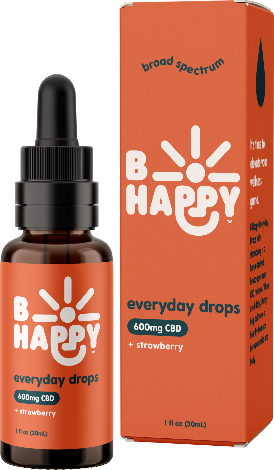 Strawberry Everyday Drops - 600mg Hemp-Derived CBD