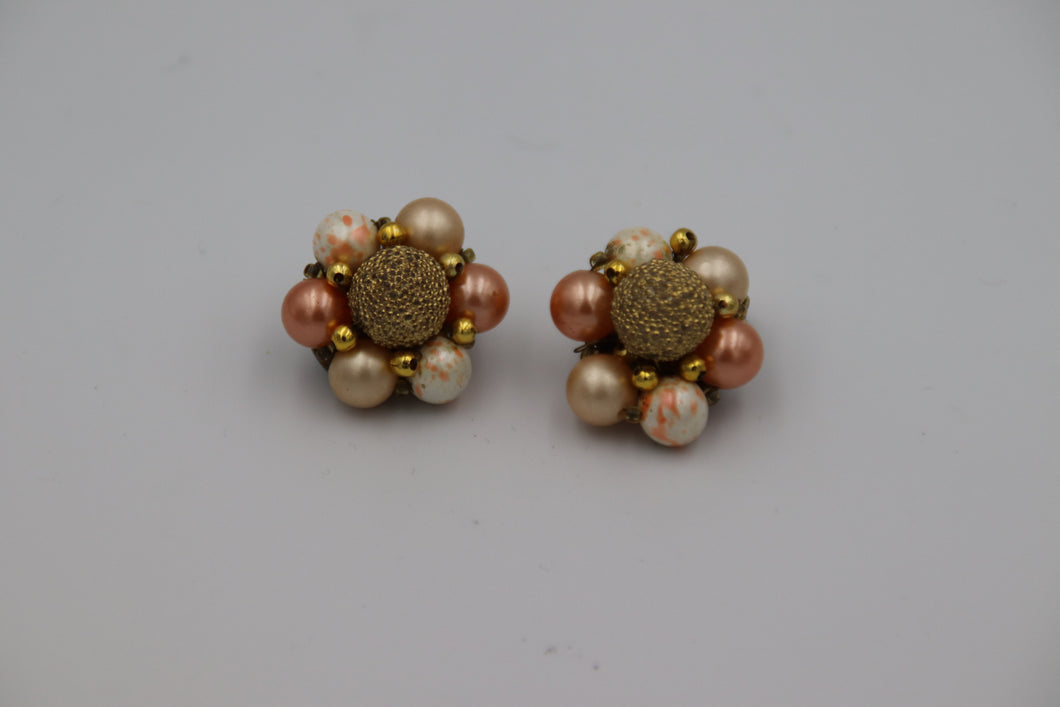 Peach, White & Gold Bead Cluster
