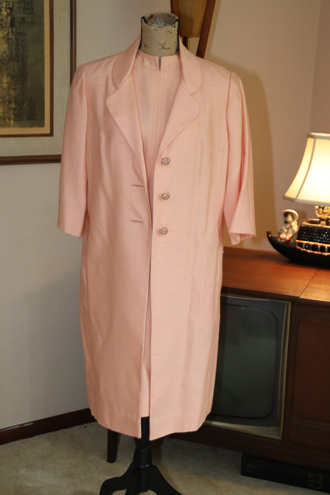 60's Pink Shift Dress with Coat