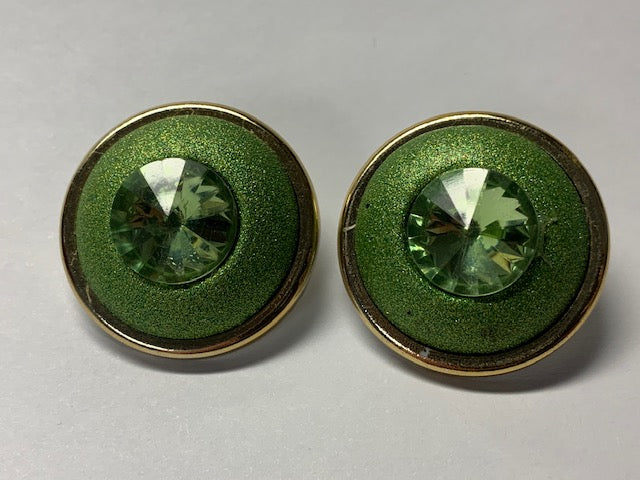 Mod 60's green with gold earrings