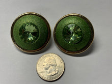 Load image into Gallery viewer, Mod 60's green with gold earrings