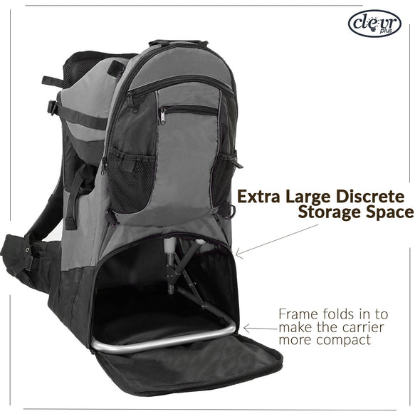 ClevrPlus Deluxe Lightweight Baby Backpack Child Carrier, Grey (CL_CRS600223) - Alt Image 5