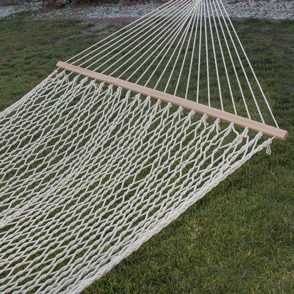 Clevr 2 Person Cotton Rope Double Wide Hammock with Solid Wood Spreaders (CL_CRS805005) - Alt Image 5