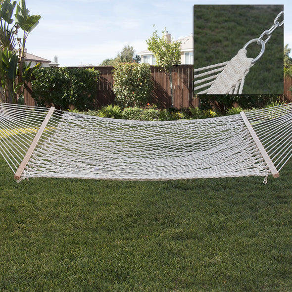 Clevr 2 Person Cotton Rope Double Wide Hammock with Solid Wood Spreaders (CL_CRS805005) - Alt Image 2