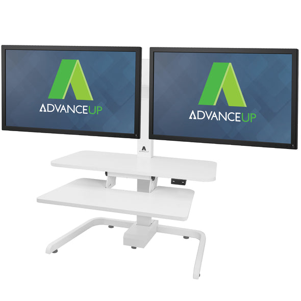 AdvanceUp Electric Automatic Standing Desk Converter Riser with Dual Monitor Mount, White (CL_ADV503606) - Alt Image 7