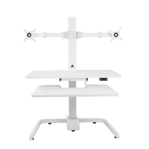 AdvanceUp Electric Automatic Standing Desk Converter Riser with Dual Monitor Mount, White (CL_ADV503606) - Alt Image 6