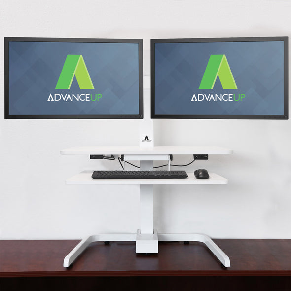 AdvanceUp Electric Automatic Standing Desk Converter Riser with Dual Monitor Mount, White (CL_ADV503606) - Alt Image 1