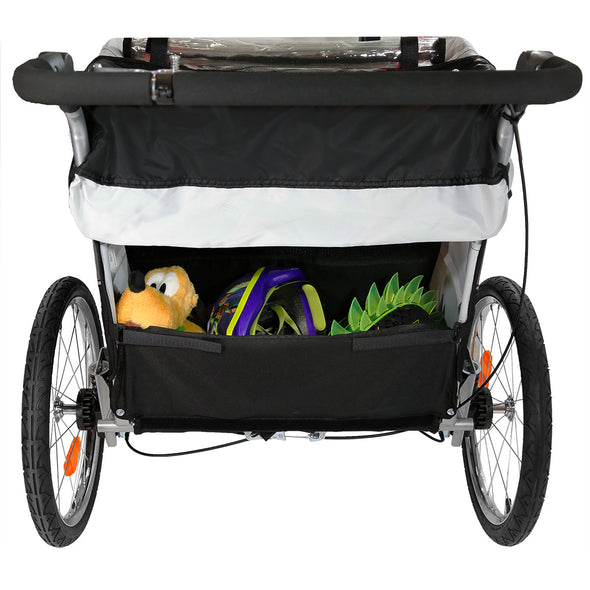 Clevr Deluxe 3-in-1 Double Seat Bike Trailer Stroller Jogger for Child Kids, Grey (CL_CRS802608) - Alt Image 6