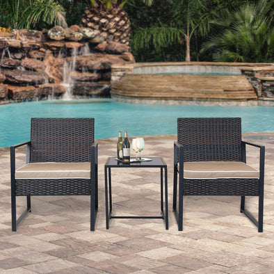 Home Aesthetics 3 Pieces Outdoor Patio Bistro Chair Table Set, Rattan Wicker Patio Furniture (CL_LXFU0033) - Main Image