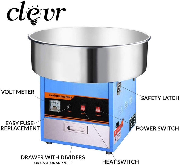 Clevr Commercial Cotton Candy Machine Carnival Party Candy Floss Maker Blue (CL_CRS201714) - Alt Image 1