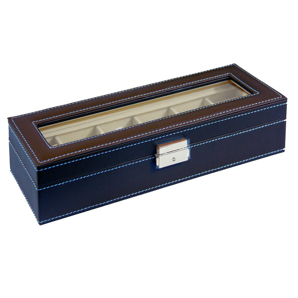 Clevr Watch Box Large 6 Mens Chocolate Leather Display Glass Jewelry Case Organizer (CL_CRS500911) - Alt Image 3