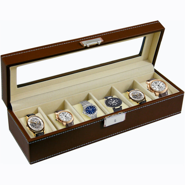 Clevr Watch Box Large 6 Mens Chocolate Leather Display Glass Jewelry Case Organizer (CL_CRS500911) - Alt Image 1
