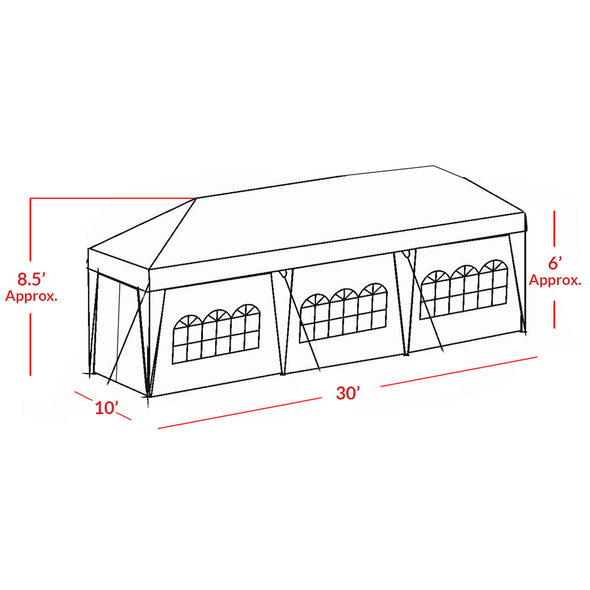 Clevr 10'x30' Canopy Party Wedding Outdoor Tent Gazebo Pavilion (CL_CRS201007) - Alt Image 5