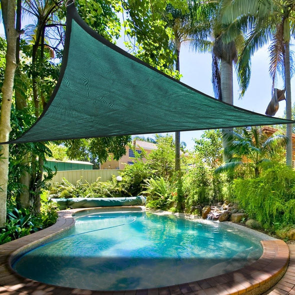 Clevr 12'x12'x12' Triangle Green Outdoor Sun Shade Sail Canopy (CL_CRS201111) - Alt Image 1