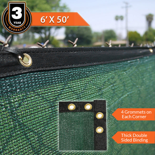 Home Aesthetics 6' x 50' Fence Windscreen Privacy Screen Cover, Green Mesh (CL_HOM200701) - Alt Image 7