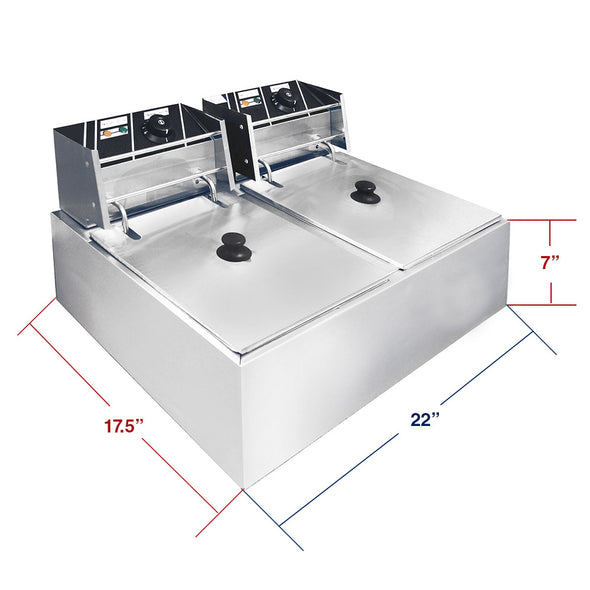 Clevr Commercial Deep Fryer 110v 11 Liter Capacity Double Two Tank Design (CL_CRS201703) - Alt Image 3