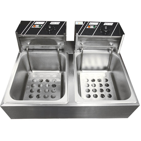 Clevr Commercial Deep Fryer 110v 11 Liter Capacity Double Two Tank Design (CL_CRS201703) - Alt Image 4