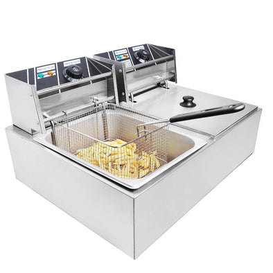 Clevr Commercial Deep Fryer 110v 11 Liter Capacity Double Two Tank Design (CL_CRS201703) - Main Image