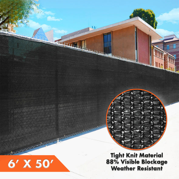 Home Aesthetics 6' x 50' Fence Windscreen Privacy Screen Cover, Black Mesh (CL_HOM200703) - Alt Image 4