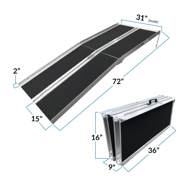 "AllCure 6' (72"" x 31"") Non-Skid Aluminum Foldable Wheelchair Loading Traction Ramp (CL_ALC202105) - Alt Image 3"