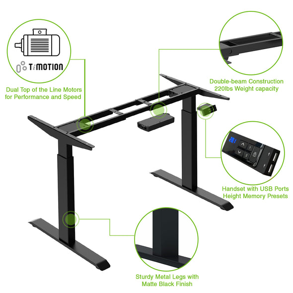 "AdvanceUp Black 47"" Dual Motor Electric Stand Up Office Desk with USB Port, Frame only (CL_CRS202301) - Main Image"