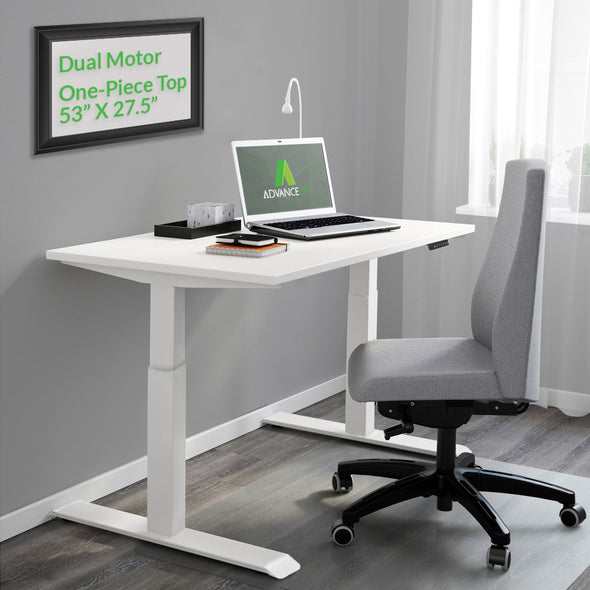 "AdvanceUp Dual Motor Electric Standing Office Desk Adjustable Stand Up Workstation, Support 220 lbs, 47"" Height and Memory Presets, White, Frame & Top Set (CL_CRS202314+202322) - Main Image"