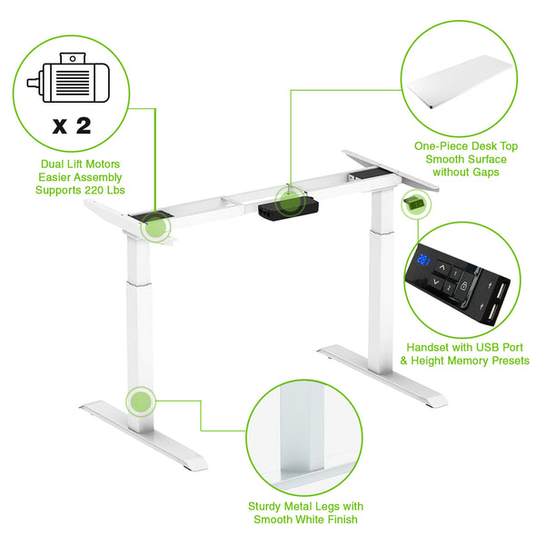 "AdvanceUp Dual Motor Electric Standing Office Desk Adjustable Stand Up Workstation, Support 220 lbs, 47"" Height and Memory Presets, White, Frame & Top Set (CL_CRS202314+202322) - Alt Image 1"