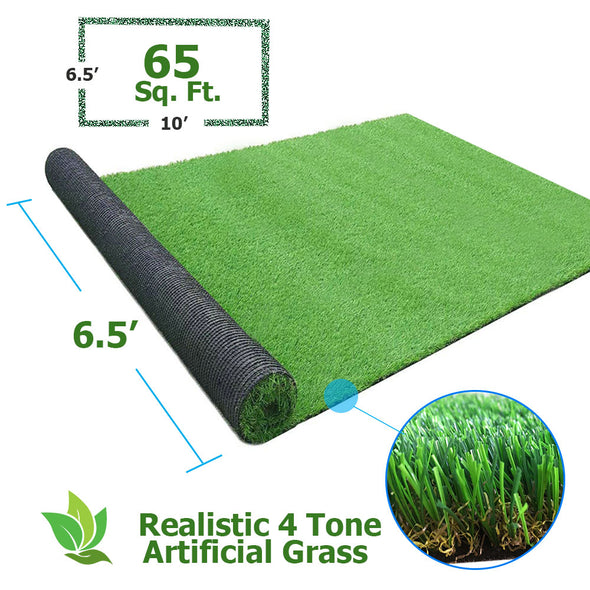 Clevr Artificial Synthetic Turf Grass Lawn for Outdoor Landscape, 6.5' X 10' (CL_CRS202401) - Alt Image 1