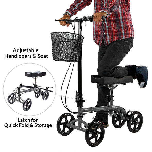 Clevr Medical Foldable Steerable Knee Walker Scooter with Basket, Silver (CL_CRS401101) - Alt Image 1